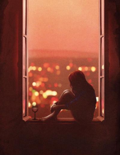 pencerede oturan hüzünlü kadın